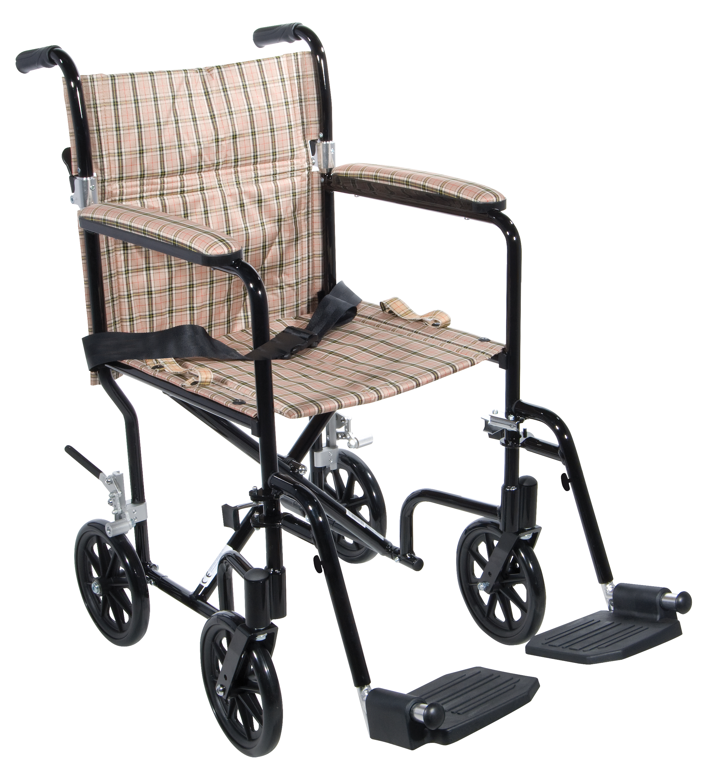 "Drive Medical Flyweight Lightweight Folding Transport Wheelchair, 19"", Black Frame, Tan Plaid Upholstery"