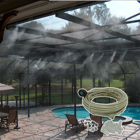Image of Outdoor Cooling Misting System for use with regular garden hose. 18 Misting Nozzles System