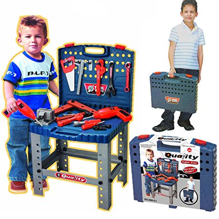 realistic toy tool set workbench kids workshop toolbench with electric drill. Black Bedroom Furniture Sets. Home Design Ideas