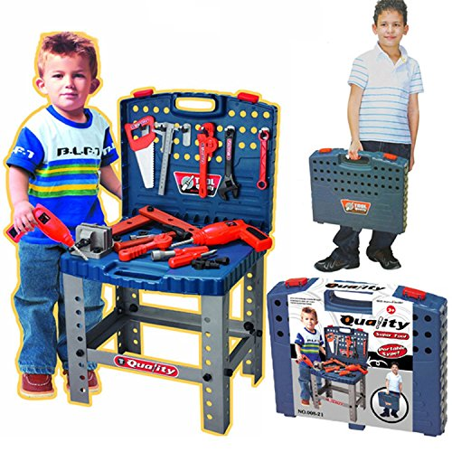 "Realistic Toy Tool Set Workbench Kids Workshop Toolbench with ""electric"" drill"