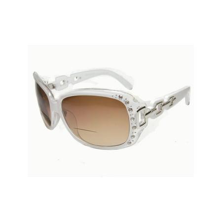 Womens Bifocal Lens Sunglasses Rhinestone Oversized Square Frame White +2.50