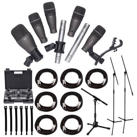 Samson DK707 7-Piece Drum Microphone Kit + Tripod Base Mic Boom Stand + Ultimate Low-Level Tripod Mic Stand + 7 XLR Mic Cables 20 ft.+ Strapeez, Black + Ultimate Accessory Bundle …