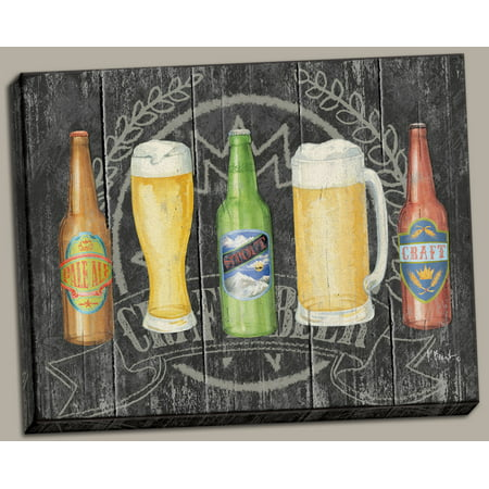 Craft Beer Collection; Stout, Ale and Beer Line-Up; One 14X11 Hand-Stretched