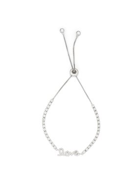"""Sterling Silver with Clear CZ Stones and """"Love"""" Element Drawstring Tennis Bracelet"""