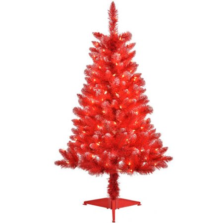 4' Pre-Lit Blue Tinsel Artificial Christmas Tree, Clear ...