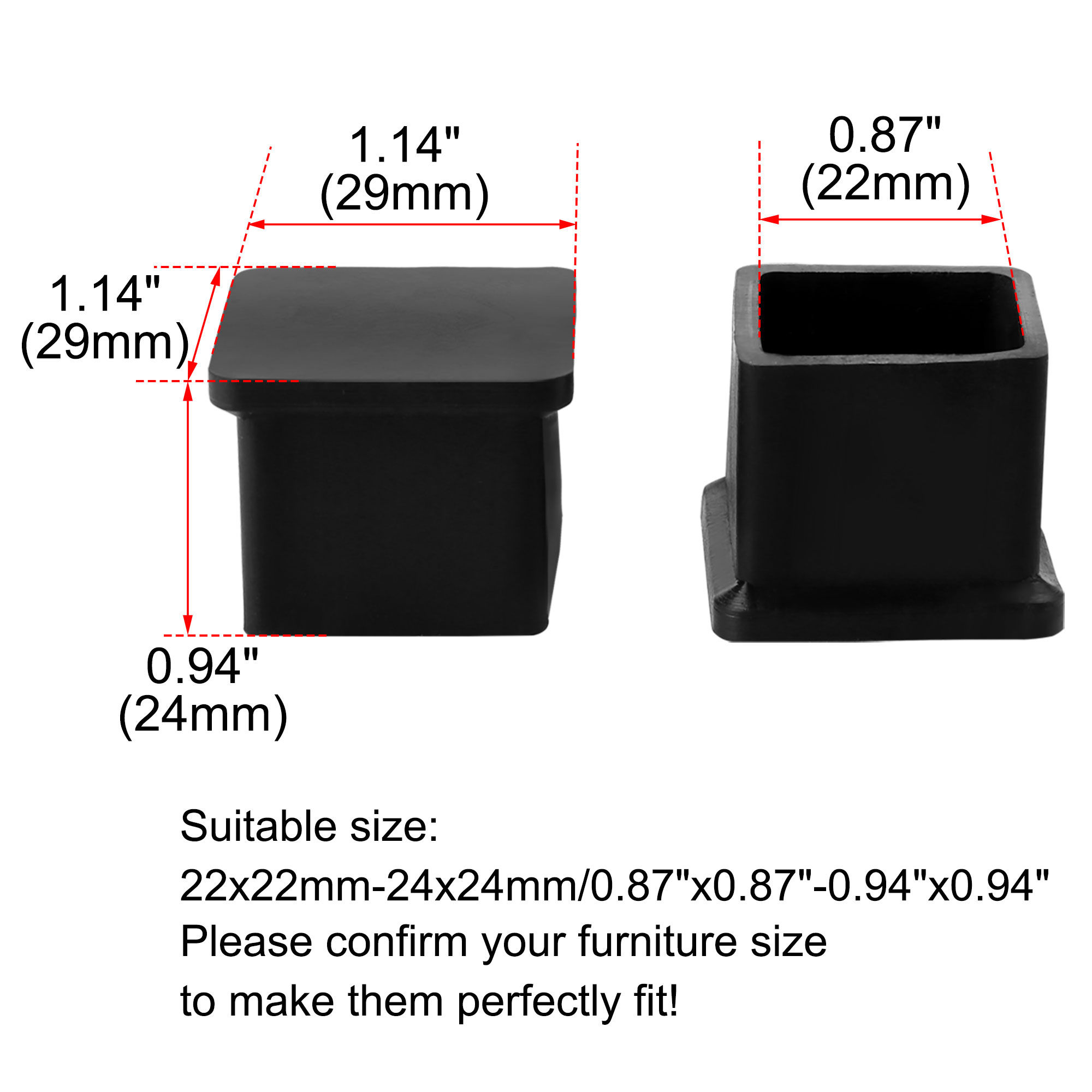 """Desk Table Leg Caps End Tip Home Furniture Protector 28pcs 0.87""""x0.87"""" (22x22mm) - image 2 of 7"""