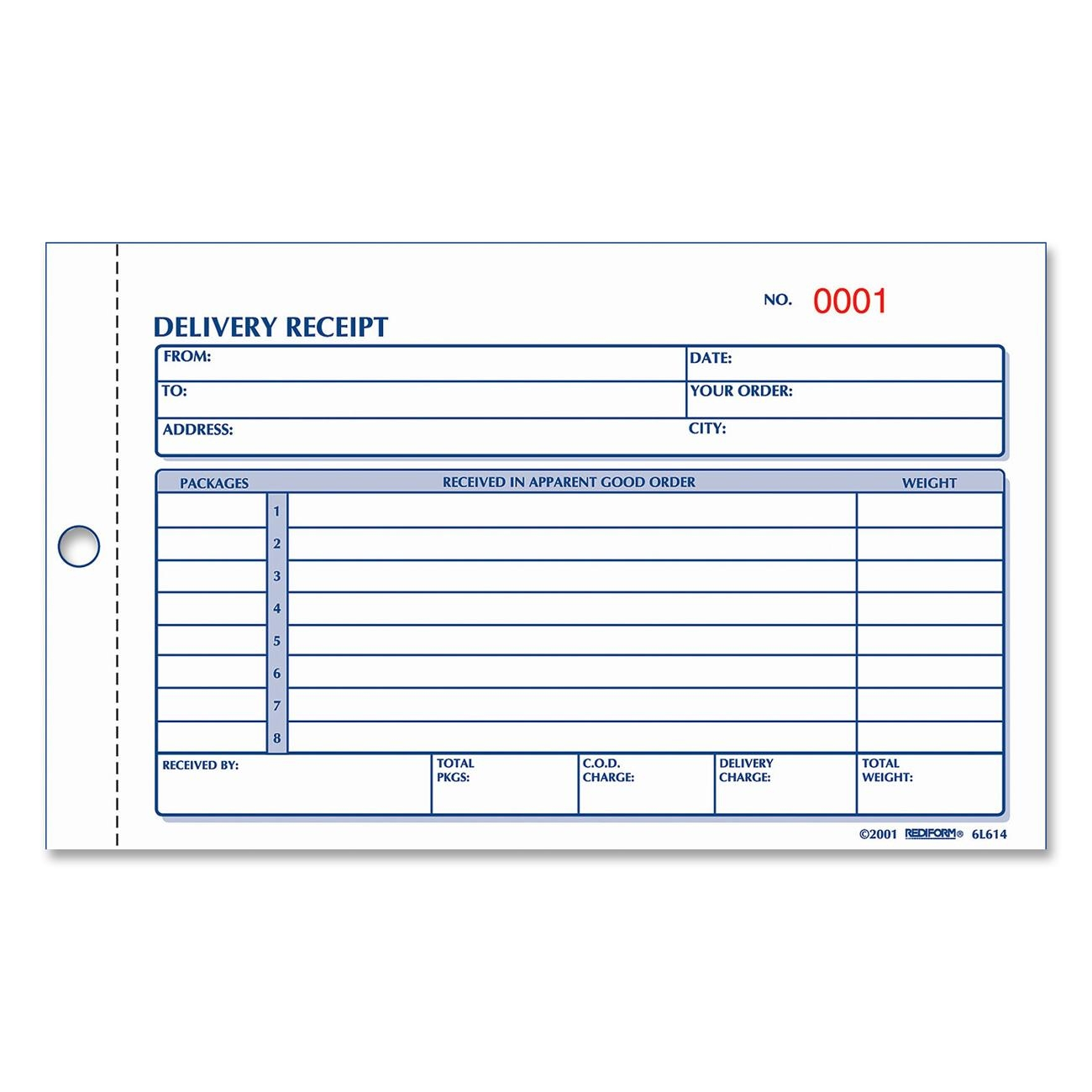 delivery receipt form template – Delivery Receipt Form Template