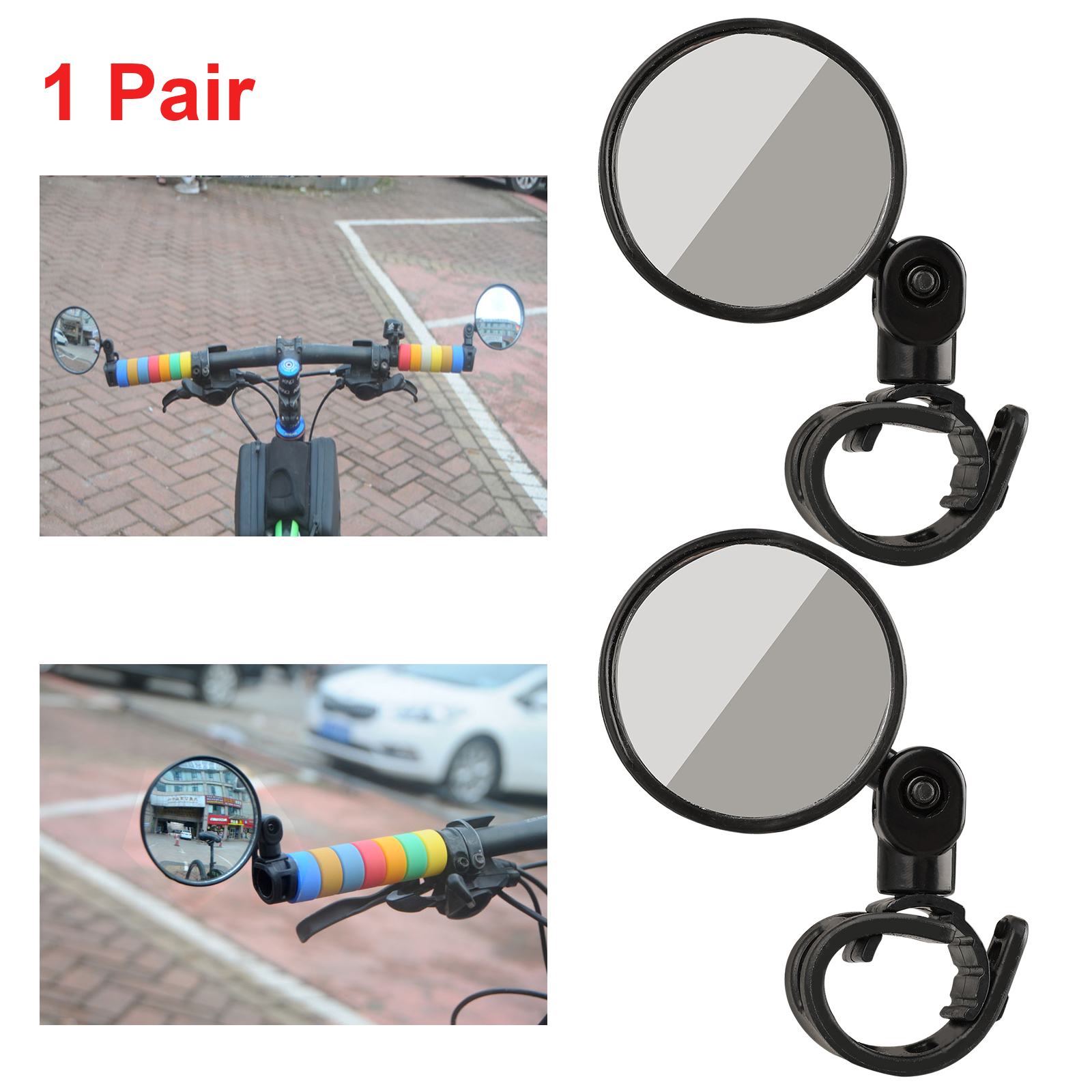Adjustable Mountain Bike Bicycle Handlebar Side Rearview Mirrors Glasses Heal