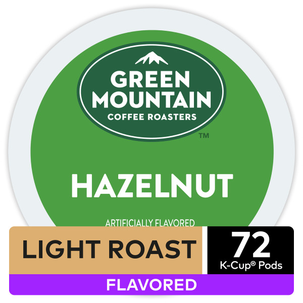 Green Mountain Coffee Hazelnut Keurig K-Cup Coffee Pods, Light Roast, Flavored, 72 Count (4 Packs of 18 K-Cups)