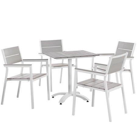 Contemporary Patio Set (Modern Urban Contemporary 5 pcs Outdoor Patio Dining Set, White Light Grey Steel)