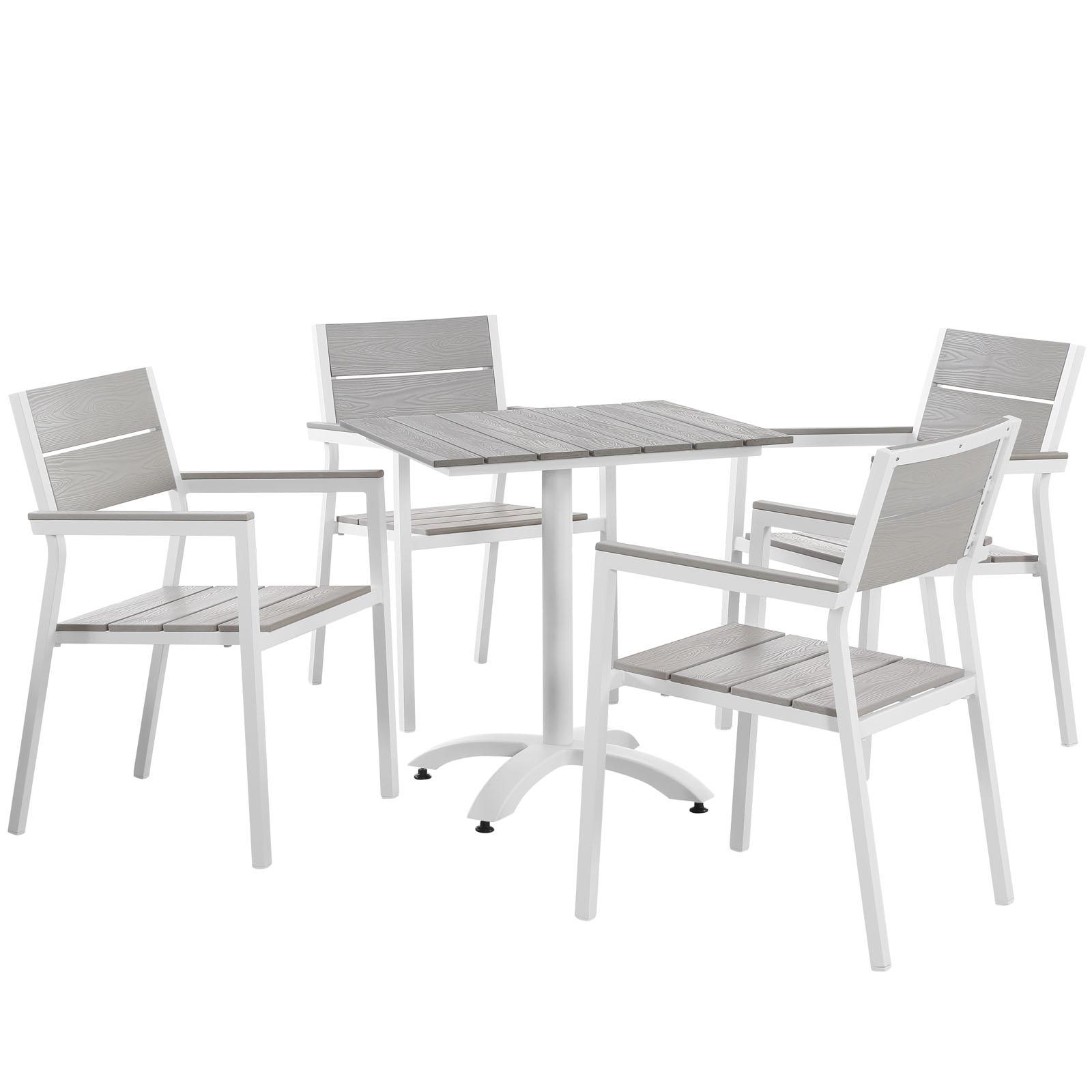 Modern Urban Contemporary 5 pcs Outdoor Patio Dining Set, White Light Grey Steel