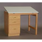 SMI F2846-31PDA Natural Oak Finish Pedestal Desk, 28 X 46 in.