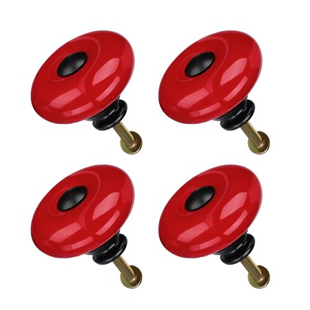 Ceramic Knob Handle Wood Dresser Wardrobe Cabinet Accessory 32mm Dia 4pcs Red - image 7 de 7