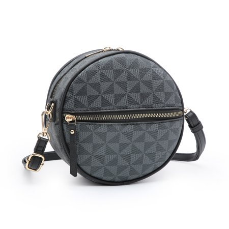 POPPY Women's Mini Circle Crossbody Zipper Shoulder Bag Plaid Pattern Round Shape Purse Denim Purse Patterns
