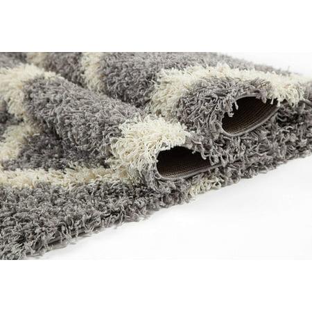 Ladole Rugs Grey Cream Indoor Solid Plain Shag Soft Area