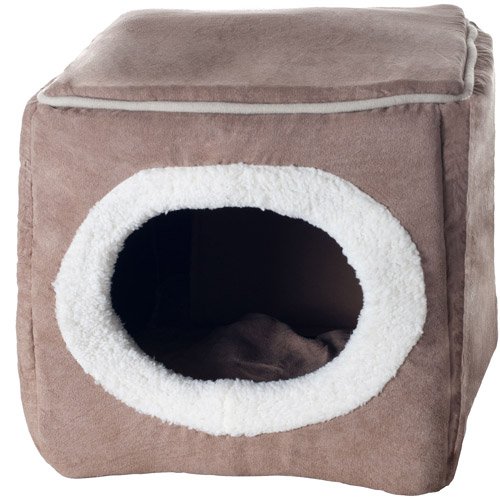 paw cozy cave enclosed cube pet bed image 2 of 2 - Cozy Cave Dog Bed