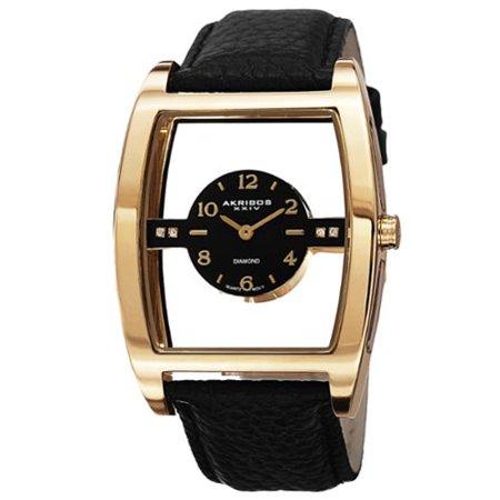 Akribos XXIV  Men's Swiss Quartz Transparent Sunray Dial Leather Gold-Tone Strap Watch