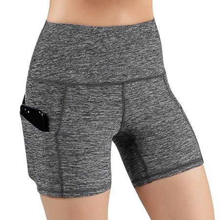 High Waist Out Pocket Yoga Short Tummy Control Athletic Non See-Through Yoga Shorts