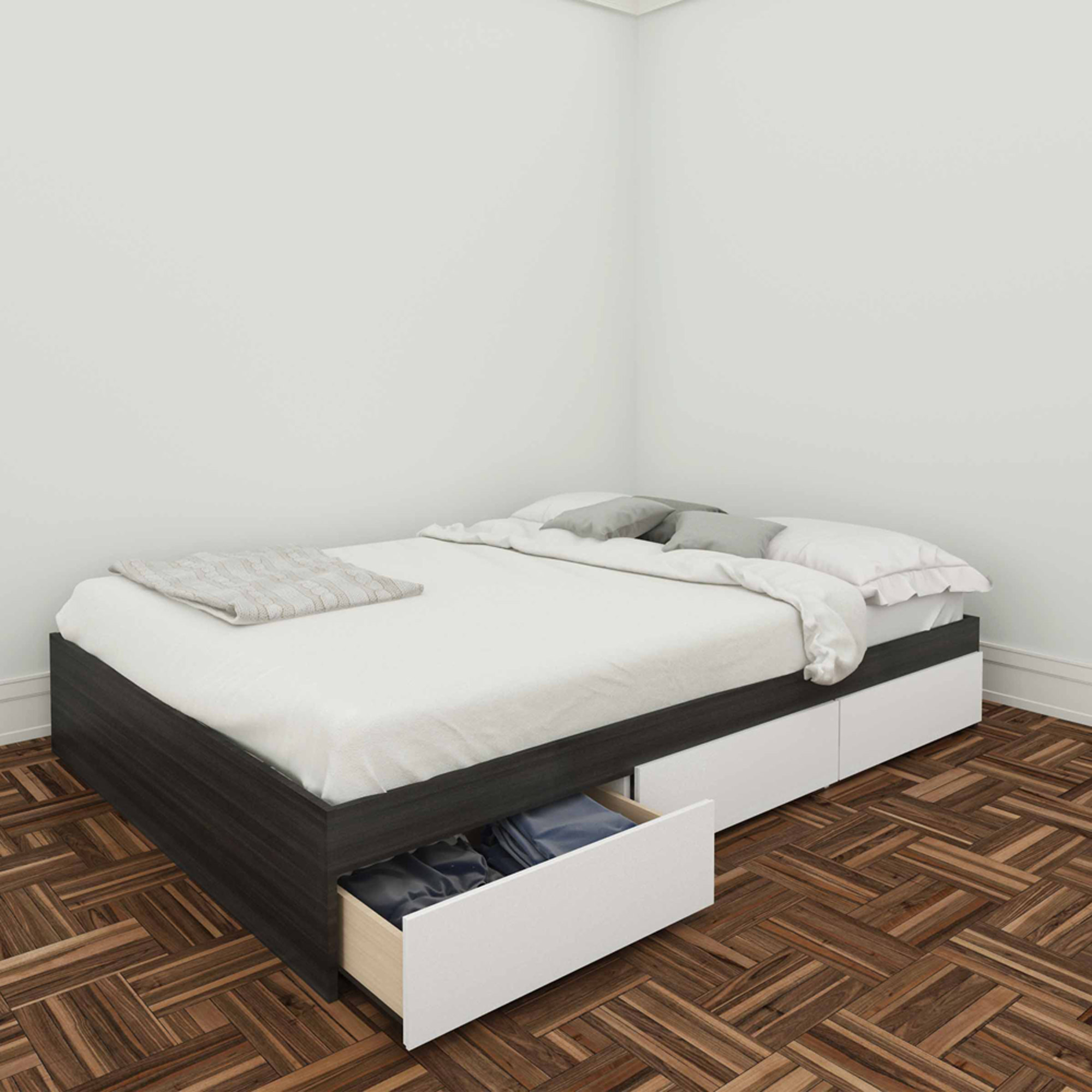 "Nexera Allure 54"" Reversible Storage Bed with 3 Drawers"