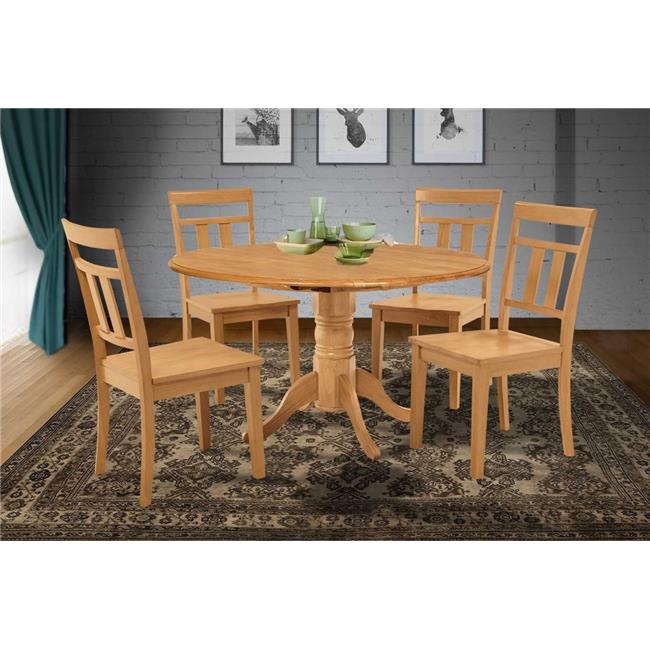 M&D Furniture BUWE5-OAK-W Burlington 5 Piece small kitchen table-kitchen table and 4 dining chairs