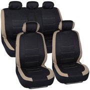 Off Series Bench Seat ((4 pack) BDK Venice Series Car Seat Covers, New Design, Side Airbag Compatible, Split Rear Bench)