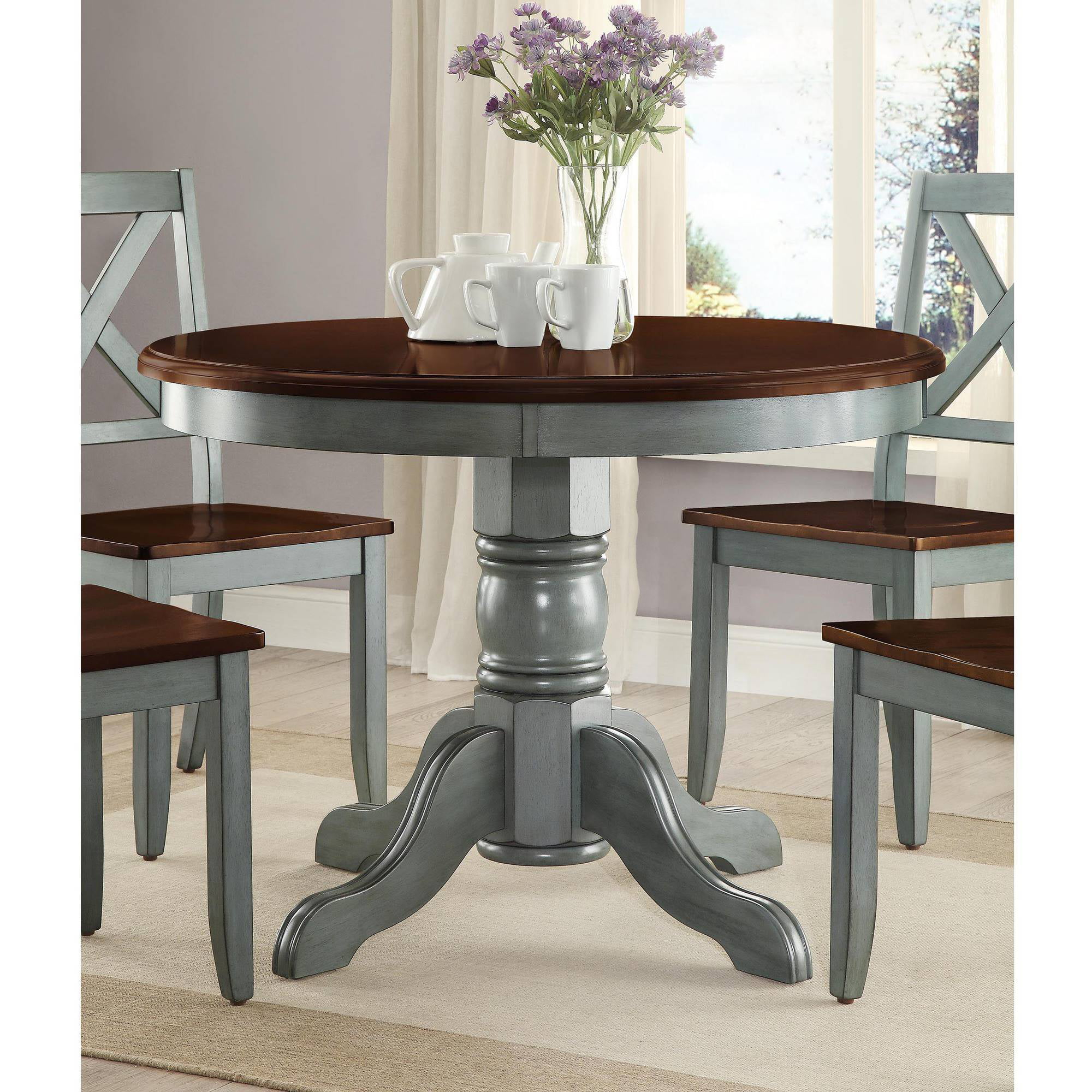 Mainstays 5 piece glass and metal dining set 42 round tabletop walmart com