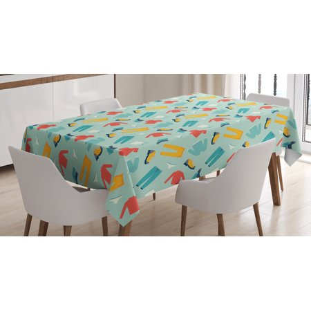 Mens Tablecloth, Contemporary Style Clothing with Pants Sweats and Sneakers Modern Fashion Elements, Rectangular Table Cover for Dining Room Kitchen, 52 X 70 Inches, Multicolor, by (70's Mens Fashion)