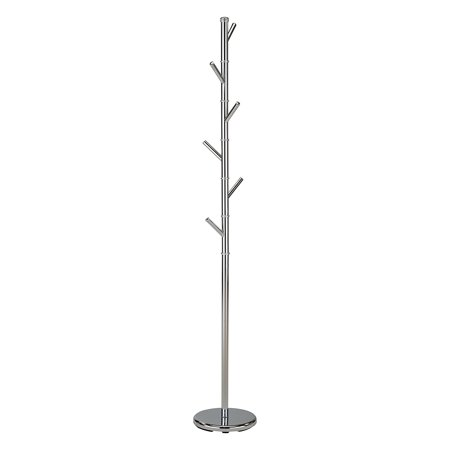 Barric Chrome Metal Transitional 6 Hook Free Standing Hall Tree Twig Style Coat & Hat Rack Hanger (71