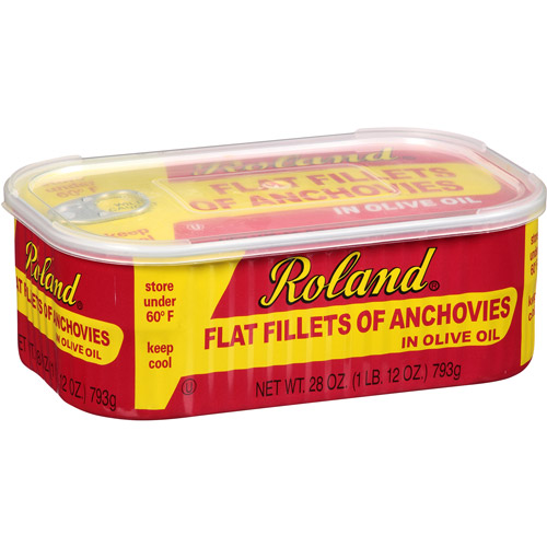 Roland Flat Fillets of Anchovies in Olive Oil, 28 oz, (Pack of 12)
