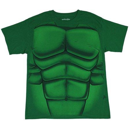 Hulk (Marvel Comics) Mens T-Shirt - Simple Incredible Abs & Chest No
