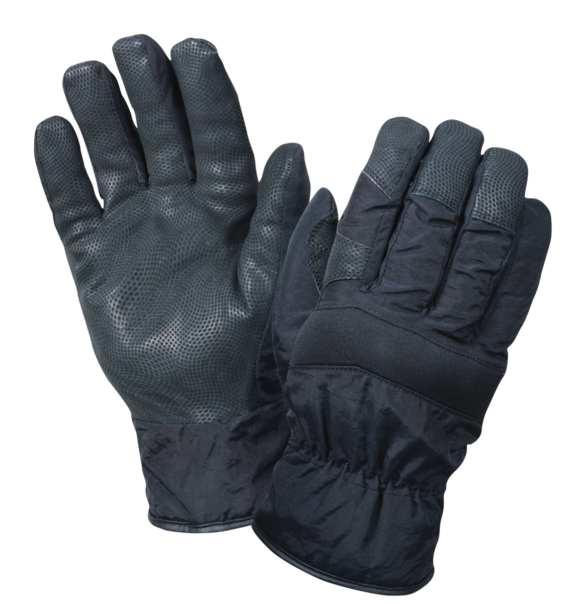 Black Cold Weather Insulated Gloves with Leather Palm for Gripping, Black