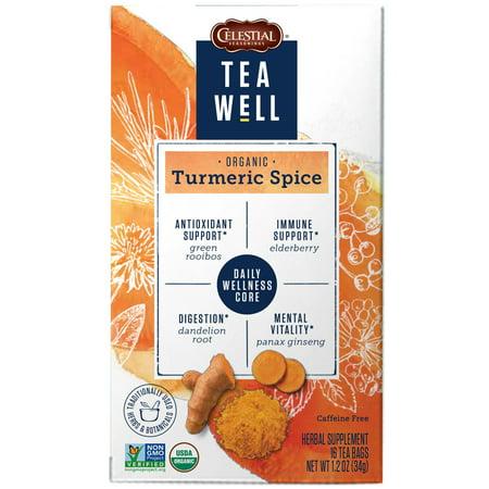 Gingerbread Spice Tea - TeaWell Organic Turmeric Spice Wellness Tea, 16 Count Box