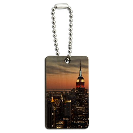 New York City Skyline at Night - Empire State Building Wood Rectangle Key Chain](Empire State Building Halloween Night)