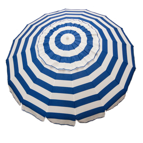 DestinationGear 8' Royal Blue and White Stripe Deluxe Beach and Patio Umbrella