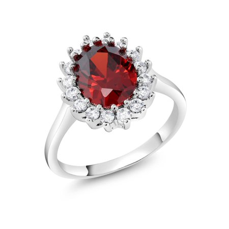 3.00 Ct Vintage Classic Rhodium Plated Red CZ Oval Cut Cocktail Ring