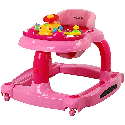 Dream On Me - 2-in-1 Baby Tunes Musical Activity Walker and Rocker, Pink