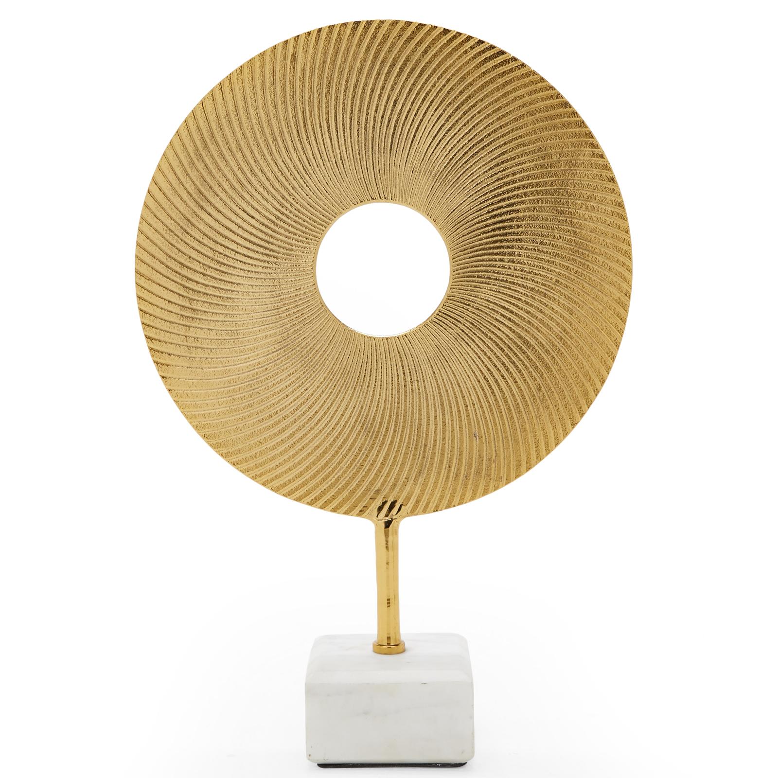 Details About Glam Decorative Circle Sculpture Aluminum Gold Marble Base Tabletop Home Decor