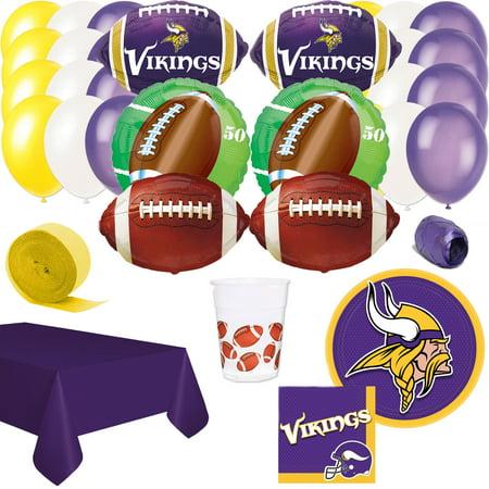 Minnesota Vikings Party Supplies (Minnesota Vikings Decor 64pc Super Bowl Football Party Pack, Purple, Serves)