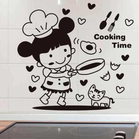 Electronicheart Cartoon Little Girl Cooking Wall Decals Restaurant Kitchen PVC Waterproof Sticker Home Shop Removable Wallpaper - image 2 of 8