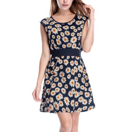 Women's Round Neck Sleeveless Dots Prints Chiffon A Line Mini Dress Navy Blue XL (US (Mini Dot Print)