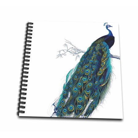 3dRose Vintage peacock art - blue and green elegant stylish bird on branch beautiful tail feathers - white - Mini Notepad, 4 by