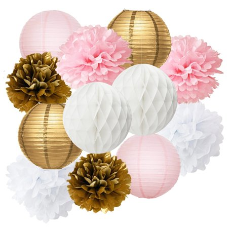 Pink Baby Shower Decorations 12pcs Gold Party Tissue Paper Pom Honeycomb Ball And
