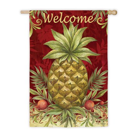 Pineapple Welcome House - Evergreen Flag Welcome Pineapple House Flag