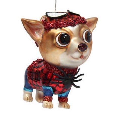 December Diamonds Blown Glass Super Hero Spider Chihuahua Ornament](Superhero Ornaments)
