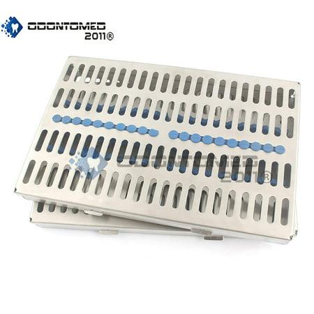 Odontomed2011® German Grade Steel Set Of 2 Each Dental Autoclave Sterilization Cassette Rack Box Tray For 20 Instrument Odm (Instrument Sterilization Container)