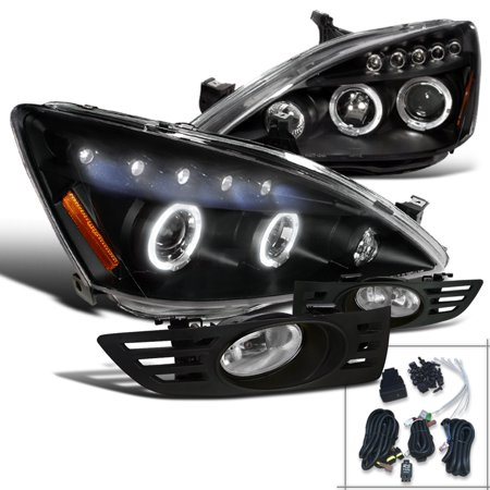 Spec-D Tuning For 2003-2005 Honda Accord Black Halo Led Projector Headlights + Clear Bumper Fog Lights (Left+Right) 2003 2004 2005