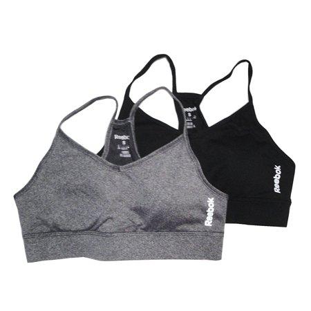 Reebok Womens 2-Pack Sports Bra (X-Large, Black/Heather)
