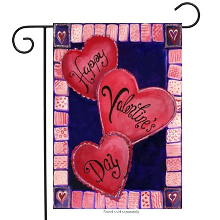 3 Hearts For Valentines Day Garden Flag Love Heart Banner 12 5   X 18
