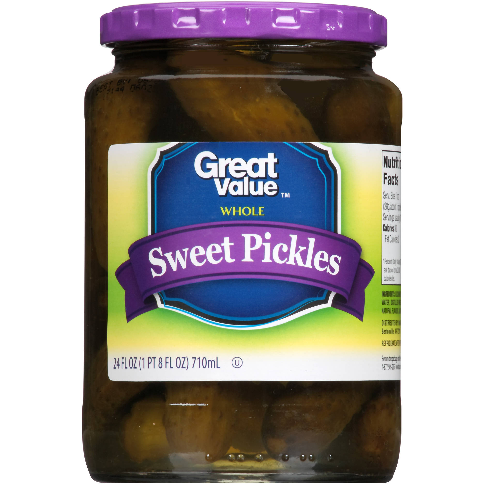 Great Value: Sweet Whole Pickles, 24 Oz