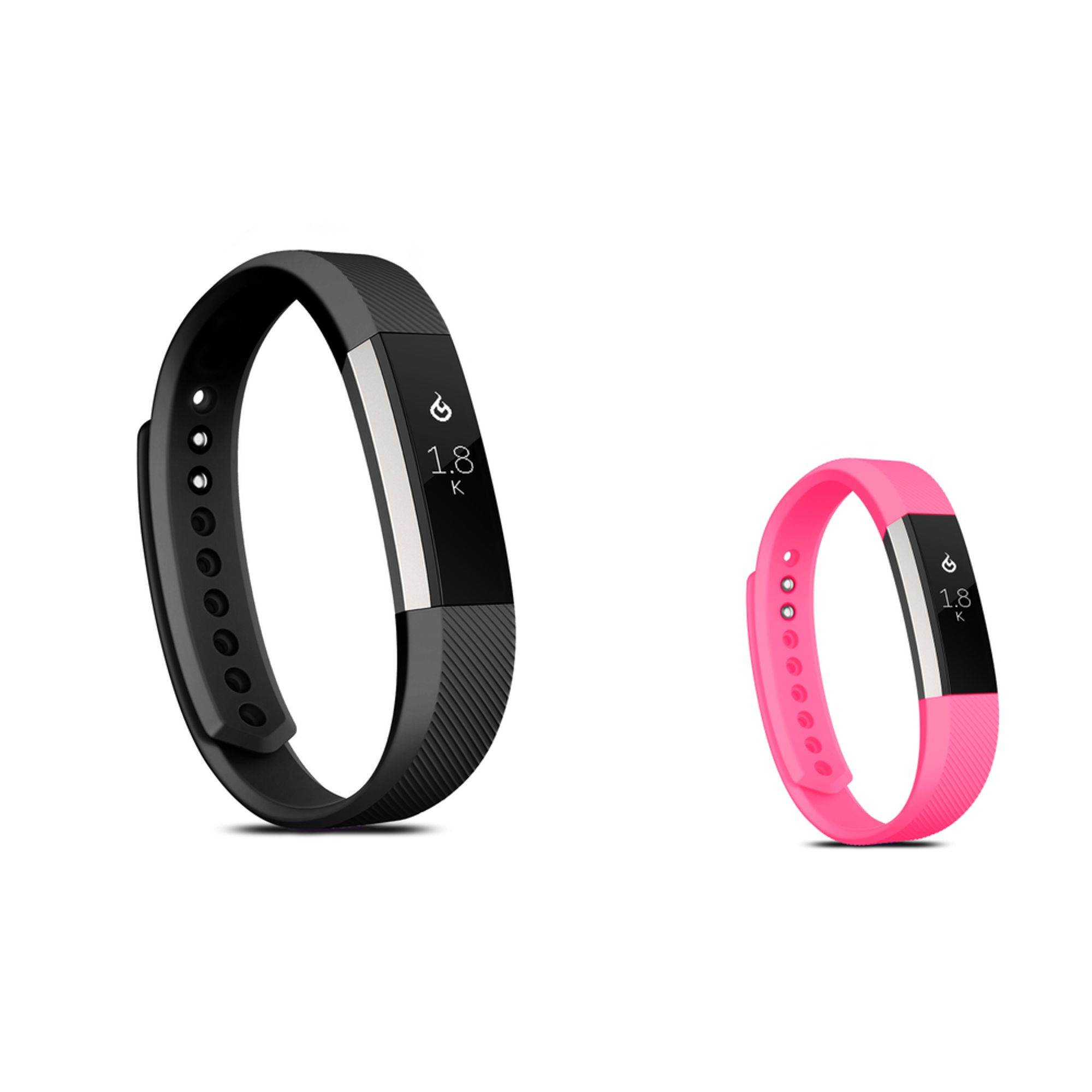 Zodaca Soft TPU Rubber Adjustable Wristbands Watch Band Strap For Fitbit Alta HR / Alta SMALL Size - Black + Hot Pink